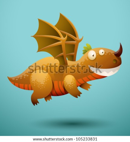 Funny flying dragon 4, vector - stock vector