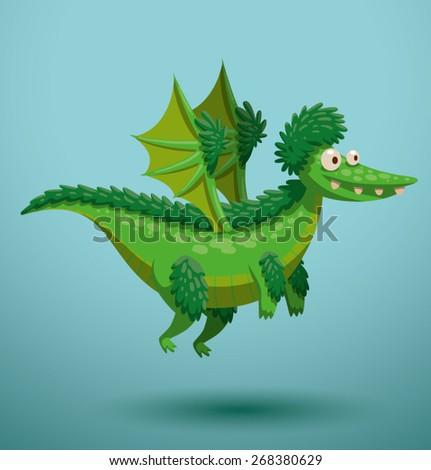 Funny flying dragon, vector - stock vector
