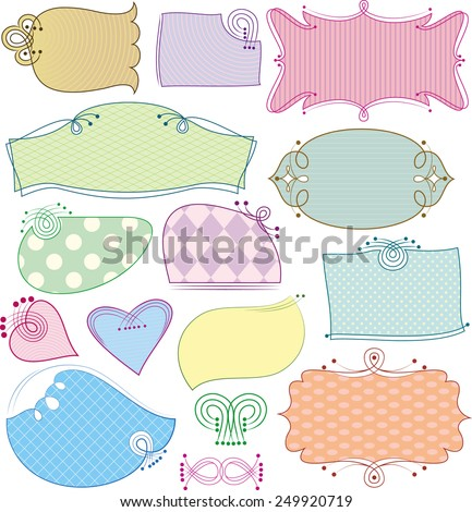 Funny frame with a variety of options for filling the background. Colored tag with an element curl. - stock vector