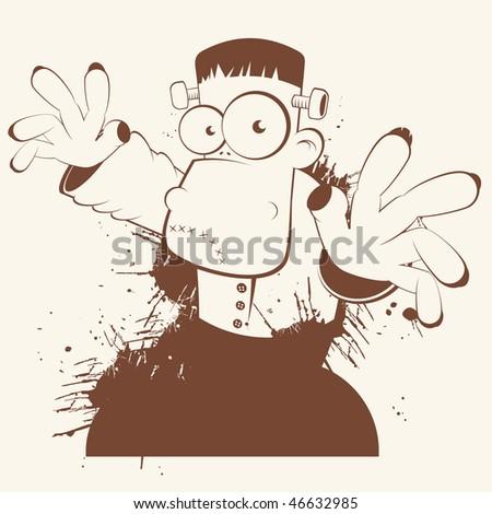 funny frankenstein cartoon - stock vector