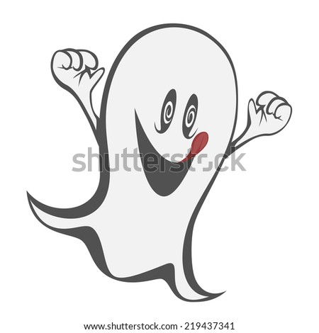 Funny freaky ghost - a hungry haunting ghost with tongue out - stock vector