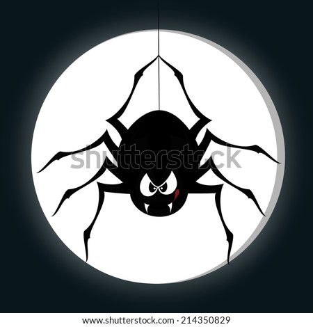 Funny freaky spider - a black cartoon-style spider is snarling and licking mouth with angry eyes while hanging on his spider thread in front of a full moon - stock vector