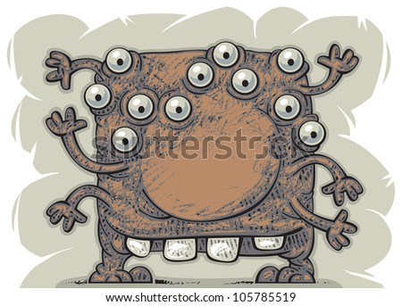 Funny friendly alien with six hands - stock vector