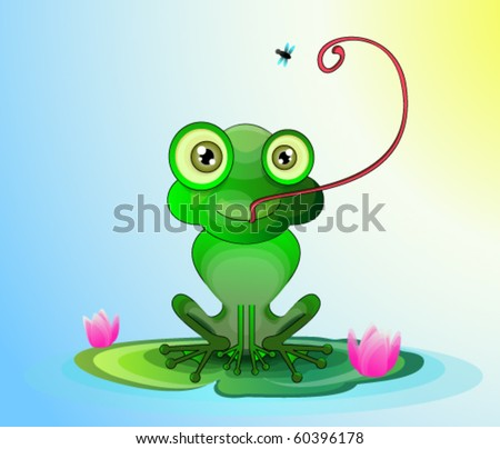 funny frog catching a fly - stock vector