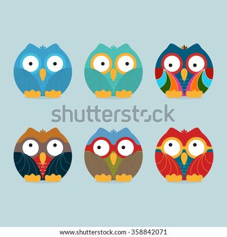 Funny frozen owls set. Vector illustration - stock vector