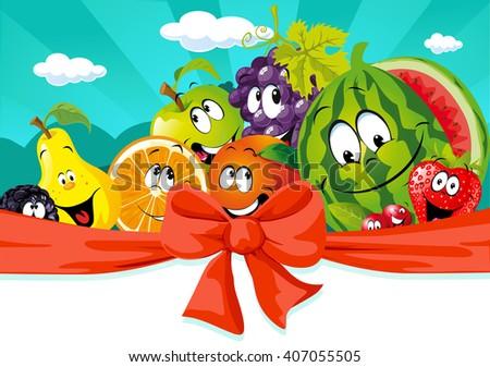 funny fruit cartoon on banner design - vector illustration - stock vector