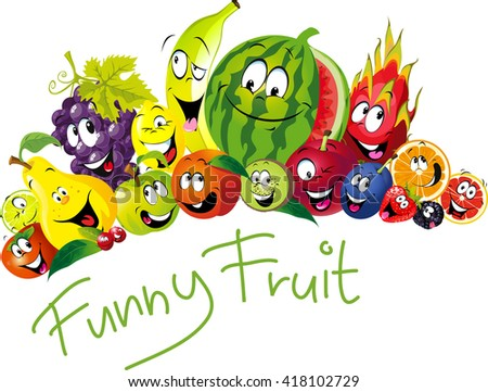 Funny fruit - many fruit with smile and happy face - vector fruit illustration - stock vector