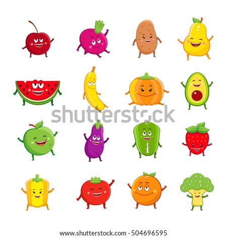 Funny fruits and vegetables characters cartoon set