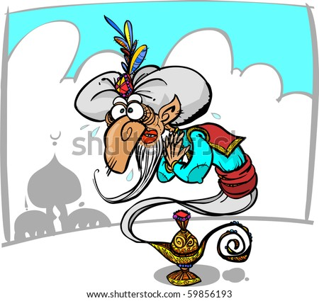 Funny genie in a lamp. - stock vector
