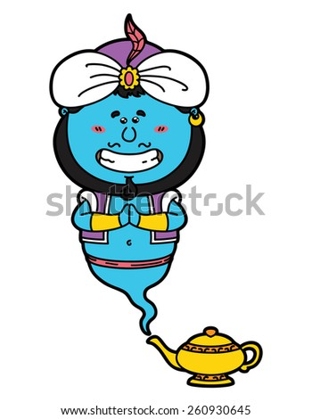 funny Genie . vector illustration of kawaii Genie and his magic lamp. - stock vector