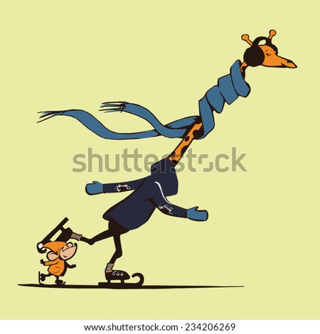 Funny giraffe and a little mouse: ice skating. Vector art - stock vector