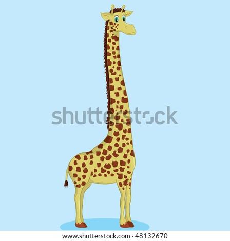 funny giraffe illustration - stock vector