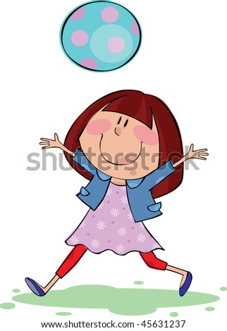 Funny girl with blue ball - stock vector