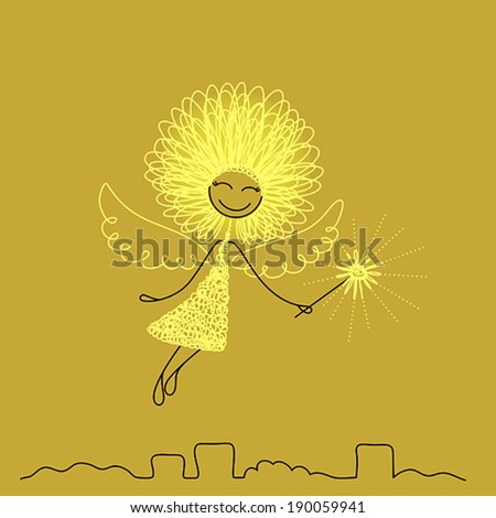 Funny girl with fluffy hair, with wings and magic wand - stock vector