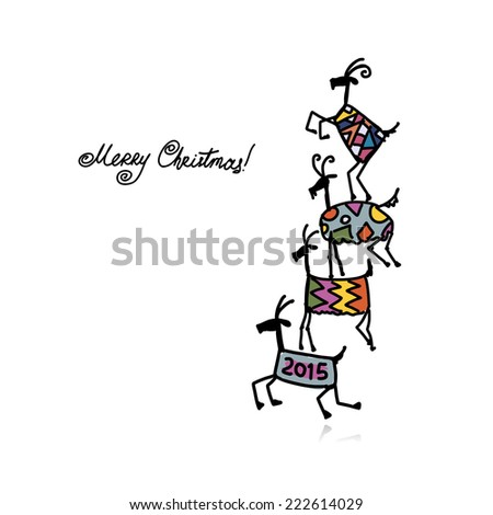 Funny goats. Symbol of 2015 new year. Vector illustration - stock vector