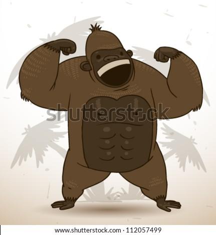 funny gorilla, vector 03 - stock vector