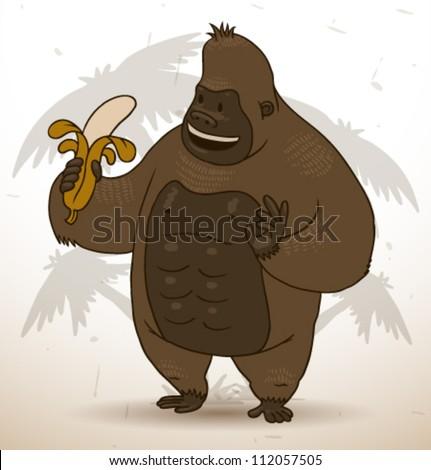 funny gorilla, vector 04 - stock vector