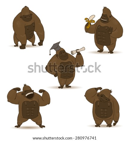 funny gorillas set, vector - stock vector