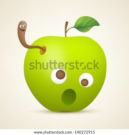 Funny green apple with worm. Vector illustration created using gradient meshes. - stock vector