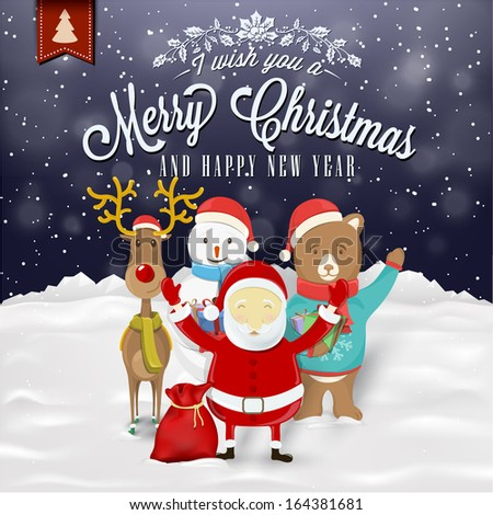 Funny Greeting Card, Christmas Card With Santa Claus, Deer, Snowman And Bear - stock vector