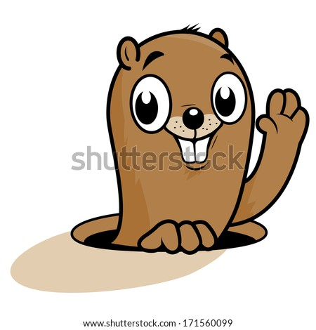 Funny groundhog cartoon. A cute groundhog peeking out of its hole, smiling and waving on Groundhog day. - stock vector