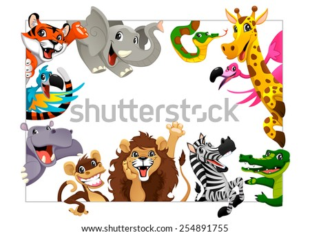 Funny group of Jungle animals. Cartoon vector illustration with frame in A4 size, for birthdays and events. - stock vector