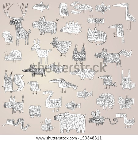 Funny Grunge Doodled Animals Collection in black and white, with outlines, on gradient background. Elements are isolated in a group, illustration in eps10 vector mode. - stock vector