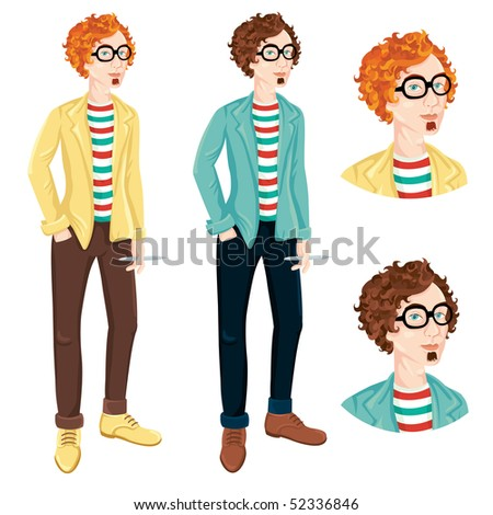 Funny guy character illustration - stock vector