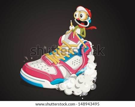 funny guy riding a sports shoe,sneaker background - stock vector