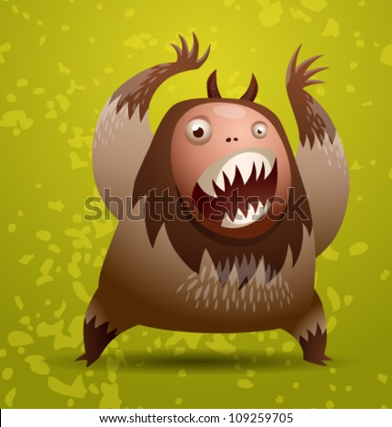 Funny hairy monster, vector 02 - stock vector