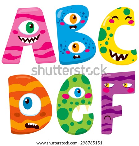 Funny Halloween alphabet with cute a b c d e f monster characters - stock vector