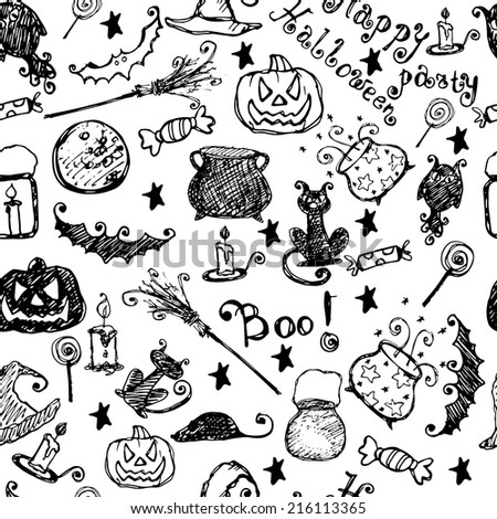 Funny halloween hand drawn seamless pattern. Black and white. - stock vector