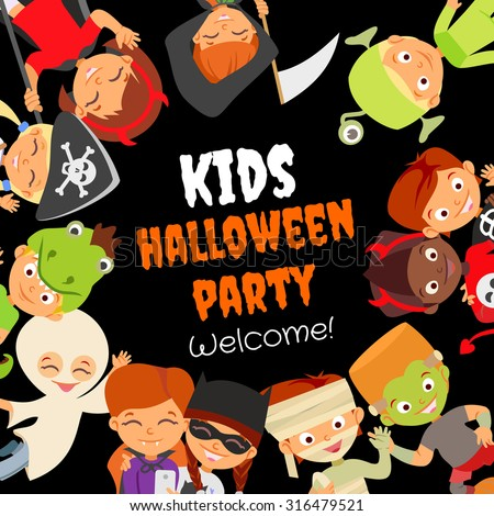 Funny halloween party design concept with happy halloween kids in halloween costumes celebrating. Kids party invitation. Pirate,devil,witch,mummy,dragon,vampire,ghost,monsters.Vector illustration - stock vector