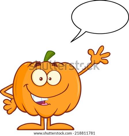 Funny Halloween Pumpkin Mascot Character Waving With Speech Bubble - stock vector