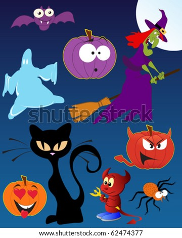 Funny Halloween - set of vector illustrations - stock vector
