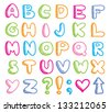 funny hand drawn alphabet on white background - stock vector