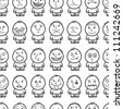 Funny hand drawn characters. Seamless pattern. - stock vector