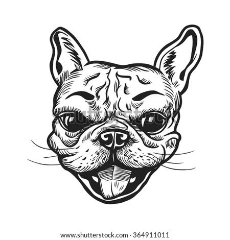 Funny hand-drawn french bulldog portrait. Vector illustration. - stock vector