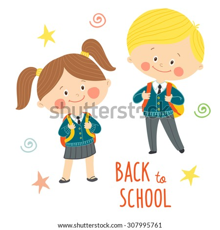 Funny hand drawn kids in school uniforms with schoolbags. Cute boy and girl with backpacks. Back to school card design.Cartoon vector clip art eps 10 illustration on white background in flat style - stock vector