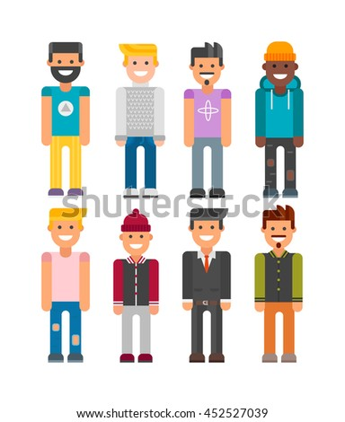 Funny handsome man with hipster modern smiling. Hipster attractive boy modern vector character. Style handsome modern hipster boy vintage stylish face. Modern style casual guy lifestyle. - stock vector
