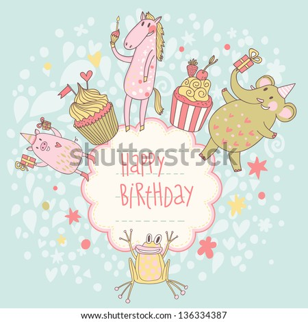 Funny happy birthday card cute animals stock vector hd royalty free funny happy birthday card cute animals elephant pig bookmarktalkfo Image collections