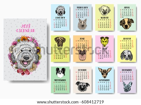 Funny happy dogs, calendar 2018 design. Chinese new year, the year of the dog zodiac monthly cards templates. Set of 12 month. Cute doggy vector.