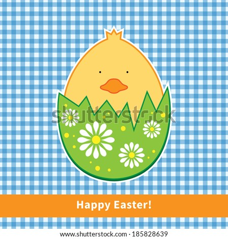 Funny happy Easter card in vector. Cute chicken with bright holiday egg and floral pattern. Checkered background. - stock vector