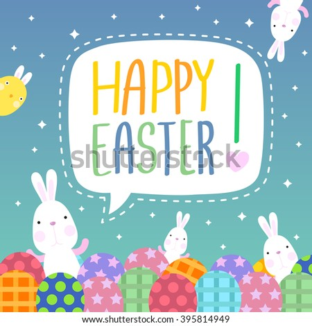 Funny Happy Easter with easter bunny and eggs and cute chick - stock vector