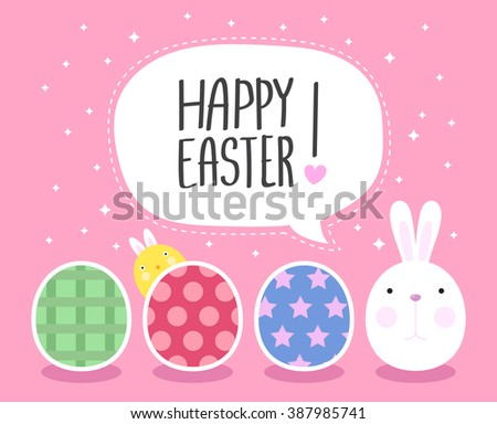 Funny Happy Easter with Eggs and easter bunny and cute chick  - stock vector