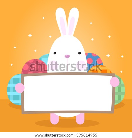 Funny Happy Easter with Eggs and easter bunny with copy space - stock vector