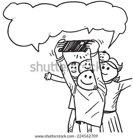 Funny happy people taking selfies speaking - stock vector
