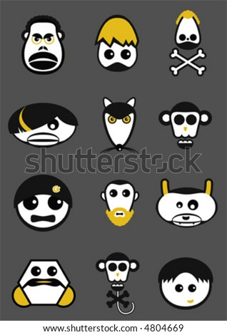 Funny Heads Collection - stock vector