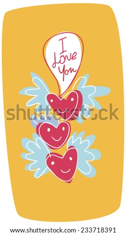 Funny hearts Valentine's Day card. Funny hearts banner - stock vector