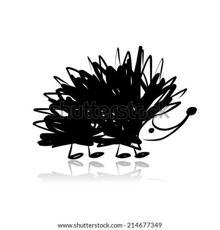 Funny hedgehog, sketch for your design - stock vector